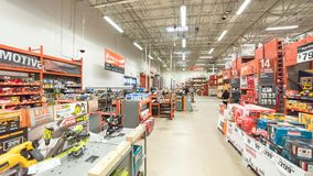 Inside view of a Home Depot retail store. HOUSTON, TEXAS, US - DEC 31, 2016: Inside view Home Depot store. It is the largest American home improvement supplies royalty free stock image