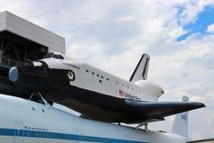 HOUSTON TEXAS, USA - JUNI 9, 2018: NASArymdfärjasjälvständighet och för anslutningsbärare för NASA 905 flygplan royaltyfri fotografi