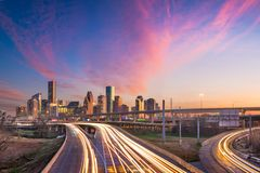 Houston, Texas, USA Skyline. Houston, Texas, USA downtown skyline over the highways at dusk royalty free stock photography