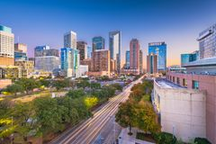 Houston, Texas, USA Skyline. Houston, Texas, USA downtown park and skyline at twilight stock photos