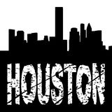 Houston text with skyline Royalty Free Stock Images