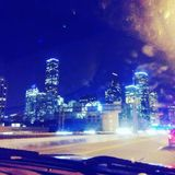 Houston, tx city skyline at night from my dash royalty free stock images