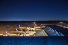 HOUSTON, TX - 14 JANUARI, 2018 - Vliegtuigen van United Airlines dokte bij einde in George Bush Intercontinental Airport bij n Stock Afbeeldingen