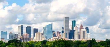 Houston, tx skyline cityscape daytime. Houston texas skyline daytime cityscape. beautiful clouds and buildings. background royalty free stock images
