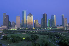 Houston, TX skyline with Memorial Park in foreground at dusk Stock Photography