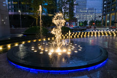Houston, TX/USA - circa July 2013: Fountain with lights and illumination in Downtown Houston,  Texas Stock Photos
