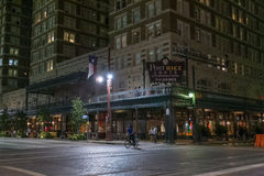 Houston, TX/USA - circa July 2013: Streets of Downtown Houston, Texas by  night Stock Photography