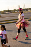 Houston, TX, USA - Color Fun Fest 5K run: runners completing the Royalty Free Stock Image