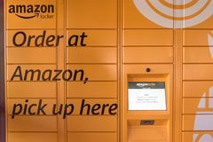 Amazon Locker at Whole Foods store entrance in Houston, Texas, U royalty free stock photo