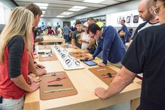 Customers experience Apple Watch Series 3 on the first day at store Royalty Free Stock Image