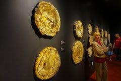HOUSTON USA - JANUARI 12, 2017: Den oidentifierade kvinnan som poserar av trä, fosilized framme utläggning i nationellt museum av Arkivfoton