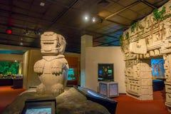 HOUSTON USA - JANUARI 12, 2017: Indisk konst med zonMayastrukturer inom av det nationella museet av naturvetenskap Arkivfoto
