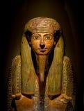 HOUSTON USA - JANUARI 12, 2017: Sarkofag på den forntida Egypten i nationellt museum av naturvetenskap i Orlando Fotografering för Bildbyråer