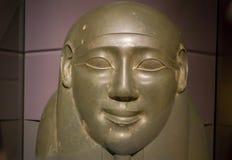 HOUSTON USA - JANUARI 12, 2017: Stäng sig upp av en sarkofag på den forntida Egypten i nationellt museum av naturvetenskap in Royaltyfri Bild