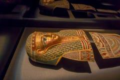 HOUSTON USA - JANUARI 12, 2017: Stäng sig upp av en struktur av den forntida Egypten i nationellt museum av naturvetenskap Royaltyfria Foton
