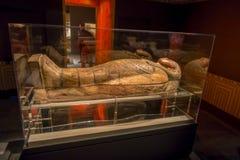 HOUSTON USA - JANUARI 12, 2017: Utläggning av den olika sarkofaget inom av byggnaden i det forntida Egypten området Arkivfoto