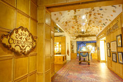 HOUSTON, USA - JANUARY 12, 2017: Cabinet curiosities in a room, with some sea animal on ceiling, inside of the National. Museum of Natural Science in Orlando stock photos
