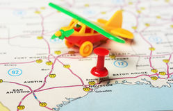 Houston  USA map airplane Stock Photos