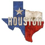Houston znaka Grunge Teksas flagi Lone Star metal royalty ilustracja