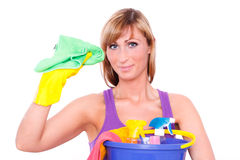 Houswife cleaning Royalty Free Stock Images