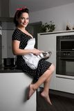 Houswife cooking. The housewife in pin up style cooking meal. She wearing dress with pinafore Stock Photo