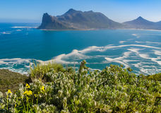 Hout Bay from Chapman's Peak drive, South Africa. Panoramic view of Hout Bay from Chapman's Peak drive, South Africa royalty free stock images