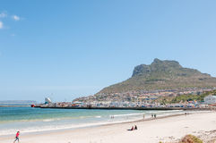 Hout Bay harbor and part of the town Stock Photo