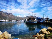 Hout Bay Harbour fishing boats stock images