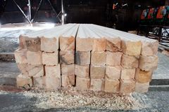 Hout bij de zaagmolen Het timmerhout wordt opgeslagen in het pakhuis royalty-vrije stock foto