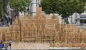Hout gebouwd model die Grote Brand van Londen 1666 herdenken Royalty-vrije Stock Afbeeldingen