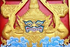 Hout handcraft gianะ bij de tempel van Thailand Royalty-vrije Stock Foto's