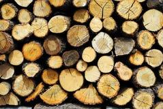 Hout, logboeken en gespleten boomstammen Stock Foto