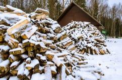 Hout voor het fornuis in de sneeuw stock foto