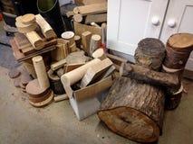 Hout in workshop Stock Foto's