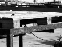 Houtconstructiestructuur in een industriële plaats, buitenkant, met roestig metaal, in zwart-wit royalty-vrije stock afbeeldingen