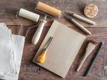 Houtdruk Art Tools stock afbeeldingen