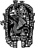 Houtdruk Dragon City Stock Afbeelding