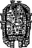 Houtdruk Middeleeuwse Stad Stock Foto