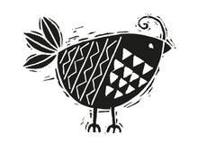 Houtdrukvogel in zwart-wit Royalty-vrije Stock Foto