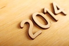 Houten aantal in 2014. Nieuwjaar Royalty-vrije Stock Afbeeldingen