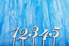 Houten aantallen Stock Foto's