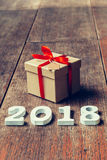 Houten aantallen die het aantal 2018, voor het nieuwe jaar 2018 vormen Royalty-vrije Stock Foto's