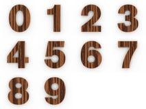 Houten aantallen op witte achtergrond Stock Foto