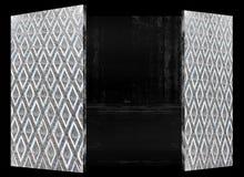 Houten abstract antiuqeontwerp van de deur Thais kunst Royalty-vrije Stock Foto's