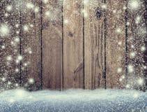 Houten achtergrond in de sneeuw De achtergrond van Kerstmis Nieuw jaar S stock afbeeldingen