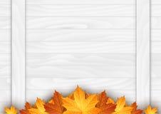 Houten achtergrond met de herfstbladeren Plaats voor uw tekst Vector illustratie Royalty-vrije Stock Foto