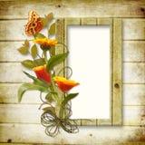 Houten achtergrond met een frame voor een foto en B Stock Afbeeldingen