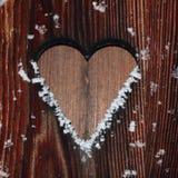 Houten Achtergrond met sneeuwvlokken royalty-vrije stock afbeeldingen