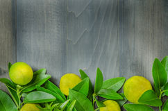 Houten achtergrond met verse kalk en groene bladeren Royalty-vrije Stock Fotografie