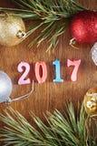 Houten achtergrond over Gelukkig Nieuwjaar 2017 Royalty-vrije Stock Afbeelding